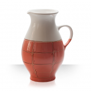 Ceramic beer pitcher, salmon color, 5 beers