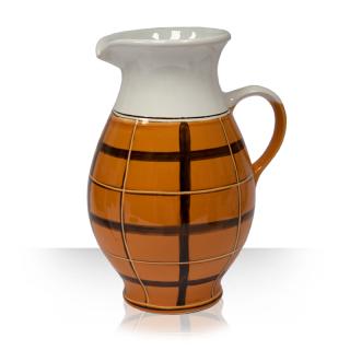 Bílý keramický džbánek na pivo, oranžový dekor, 5 piv