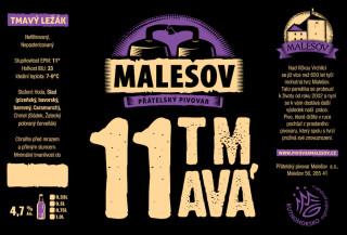 Ležák tmavý 11° (Přátelský pivovar Malešov, 0,75 l)
