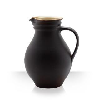 Keramický džbán na pivo, hnědý, 6 piv baculatý